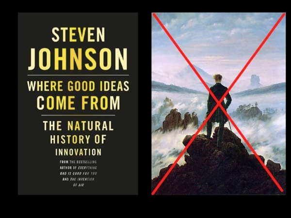 Steven Johnson book cover; crossed picture of A Genius