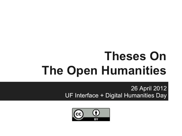 Theses on the Open Humanities