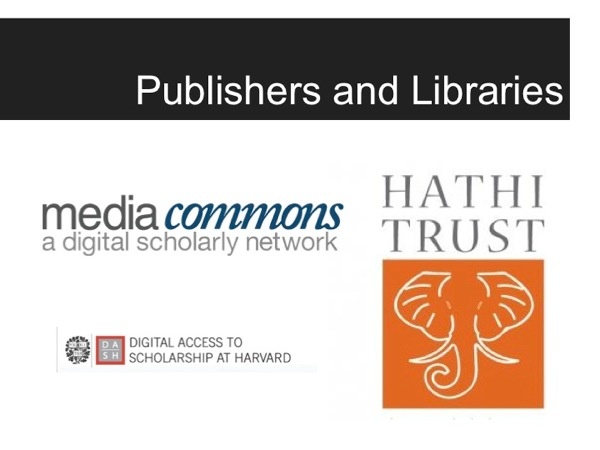Logos for some digital publishers and libraries, including MediaCommons and Hathi Trust
