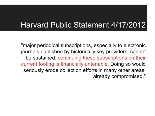 Harvard Statement about Library journal subscriptions