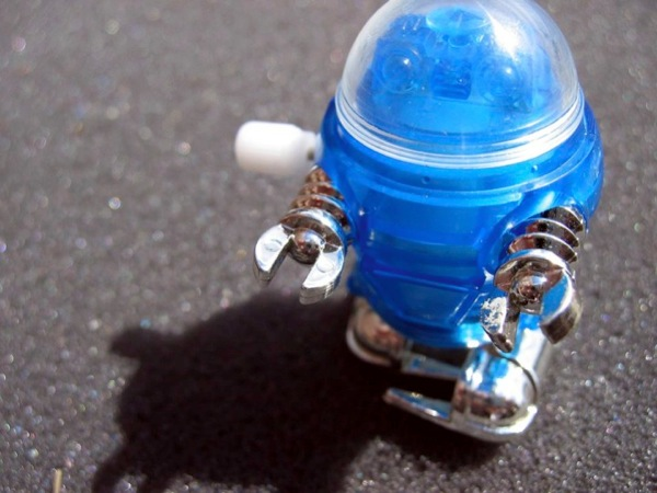 Image of a blue toy robot