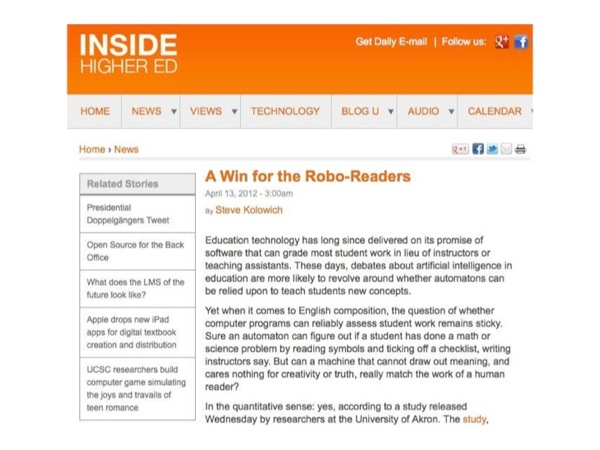 Image of an Inside Higher Ed article title A Win for the Robo-Readers