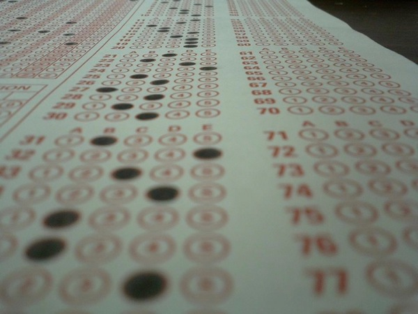 Image of a Scantron bubble sheet