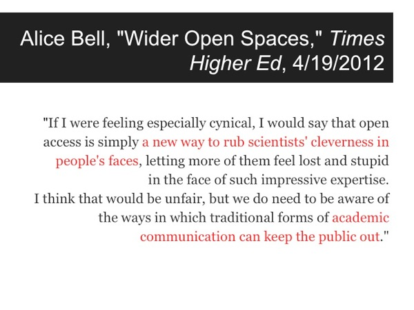 Quotation from Alice Bell article in Times Higher Ed