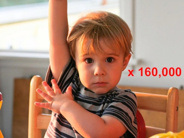 Image of a child raising his hand, annotated with *times 160,000*