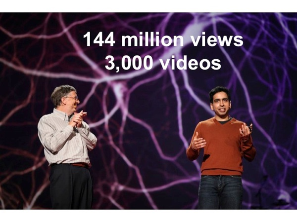 Photograph of Bill Gates and Salman Khan at a TED Talk, annotated with *144 million views / 3,000 videos*