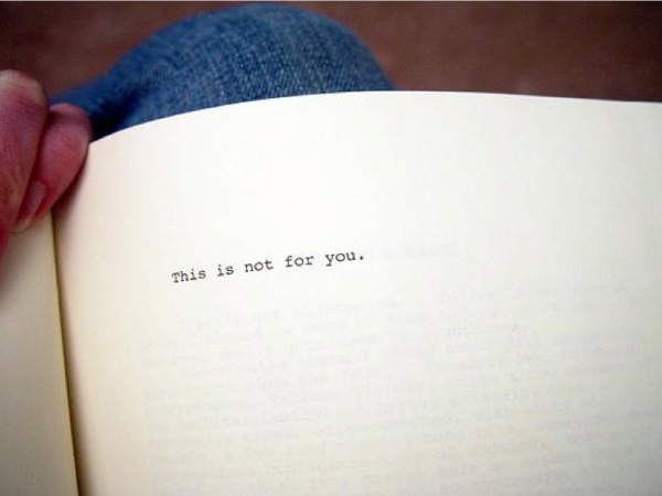 Photograph of the dedicatory page of House of Leaves, which reads, This is not for you.