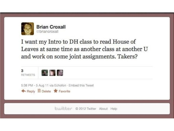 Screenshot of a tweet inviting others to participate in joint assignment about House of Leaves