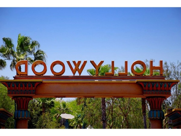 Photograph of a sign that says *Hollywood*