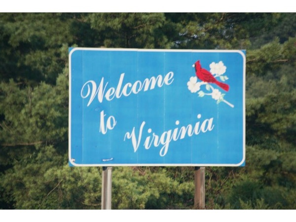 Photograph of a sign that reads *Welcome to Virginia*