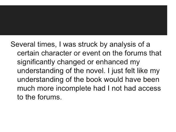 Comment from a student about the House of Leaves project
