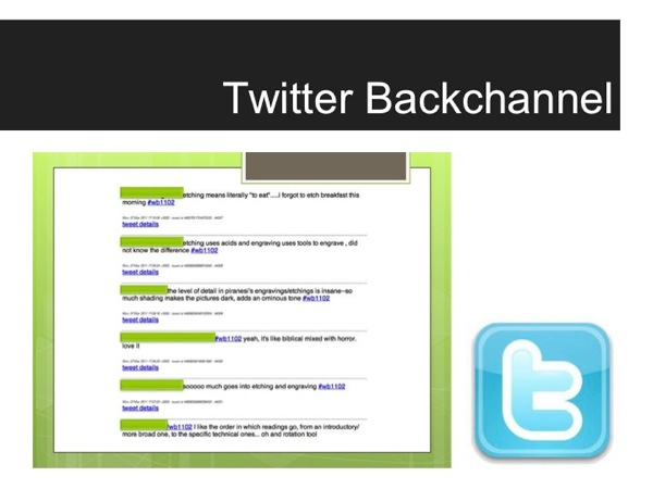 Screenshot of a Twitter stream as an example of a backchannel use scenario