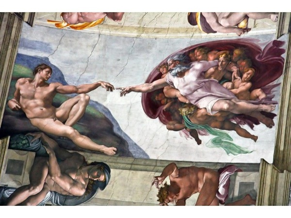 Photograph of *The Creation of Adam* from the ceiling of the Sistine Chapel