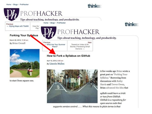 Screenshot of a different ProfHacker post, based on the first