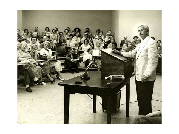 Photograph of William Faulkner lecturing