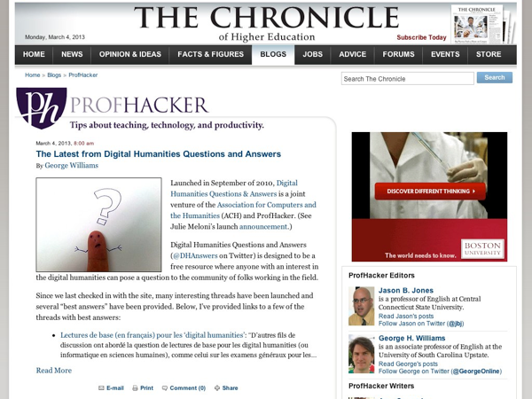 Screenshot of Profhacker.com