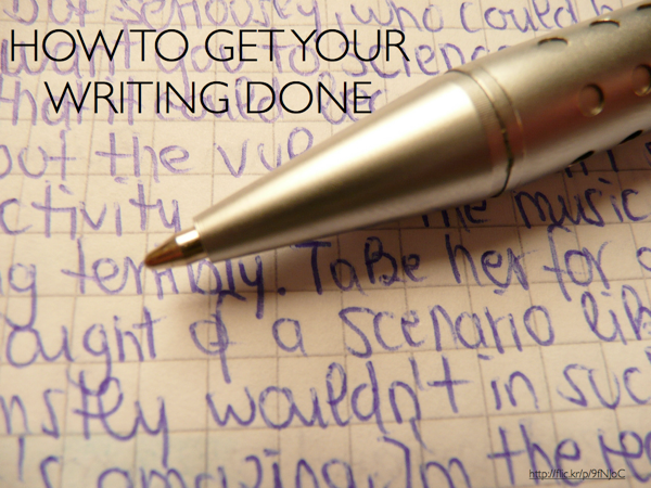 A pen on a piece of paper with handwriting. Slide text: How to Get Your Writing Done
