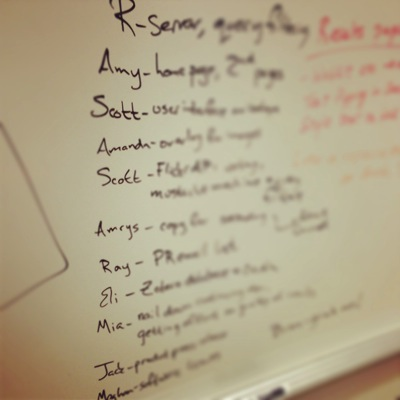 List of assignments on a whiteboard