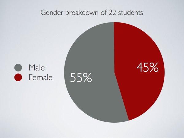 A pie chart showing the gender breakdown (55% male) of the class.