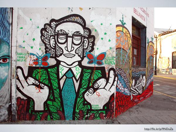 Street art / mural of Isaac Asmiov