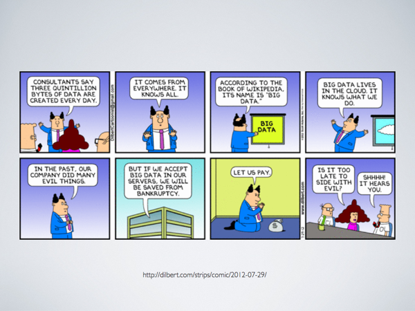 A Dilbert comic strip about 'Big Data' where that concept is treated in religious terms