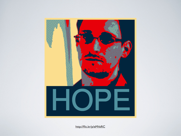 An image of Edward Snowden in the mode of the red-blue Barrack Obama poster with the caption 'HOPE'