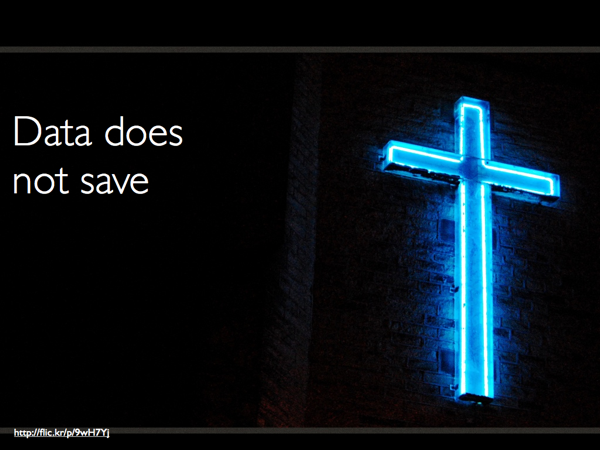 The neon blue cross with the caption 'Data does not save'