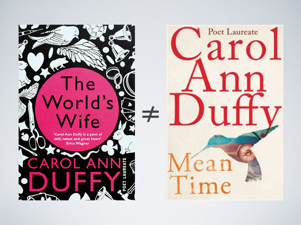 The cover of *The World's Wife* and Duffy's *Mean Time* with an ≠ between them