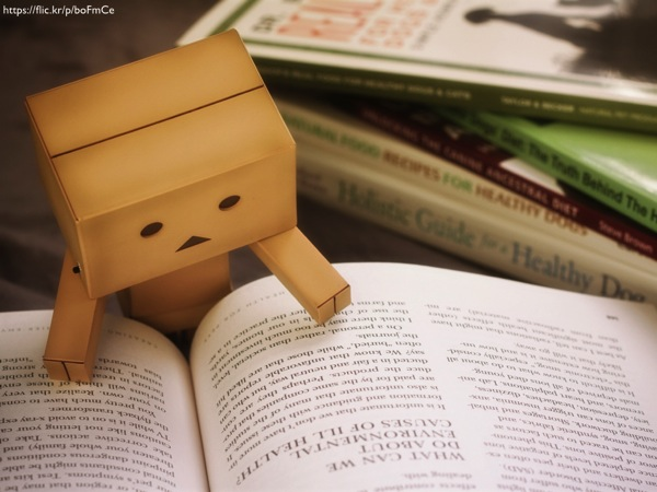 A small square-headed humanoid figure made out of wood poring over a book