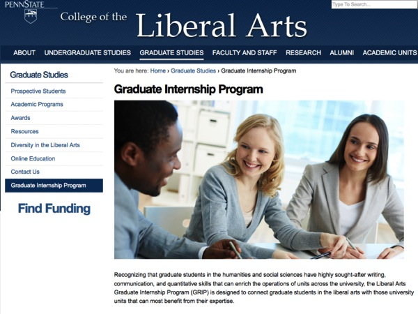 A screenshot of the Penn State Graduate Internship Program website, http://www.la.psu.edu/graduate/GRIP