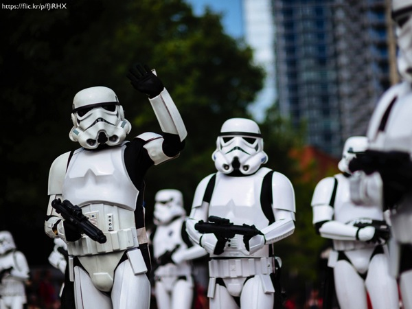 A group of Stormtroopers at a parade