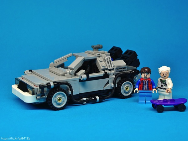 A LEGO Delorean with Back to the Future minifigs