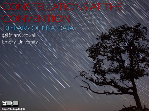 Title slide with a tree against star trails with caption 'Constellations at the Convention: 10 Years of MLA Daya'