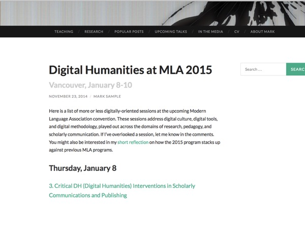 A screenshot of samplereality.com and the 'DH at MLA 2015' post