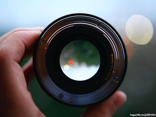 A hand holding a camera lens
