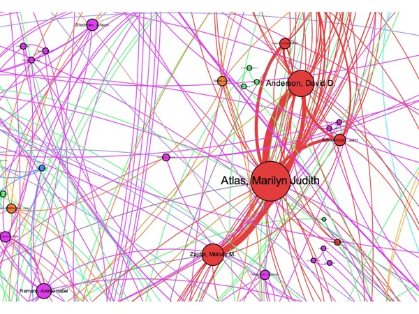 A close-up of the network visualization with tightly connected individuals