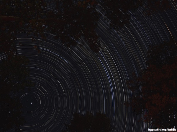 Star trails against a night sky