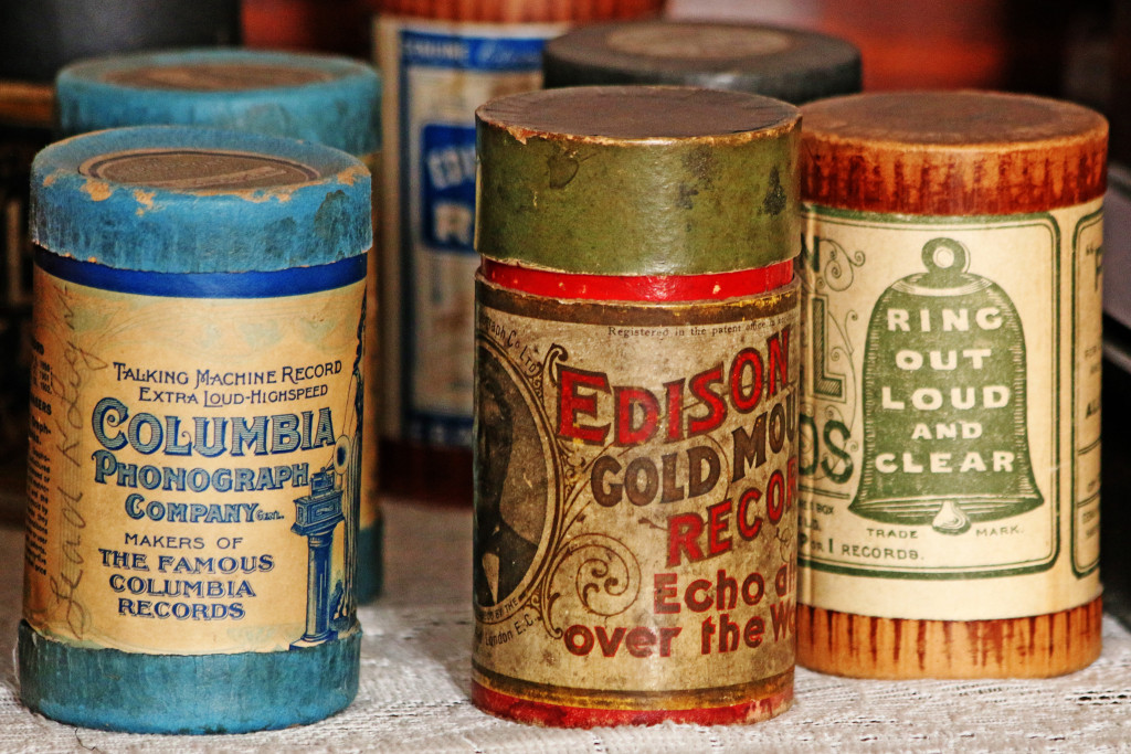 A collection of 19th-century wax phonograph cylinders.