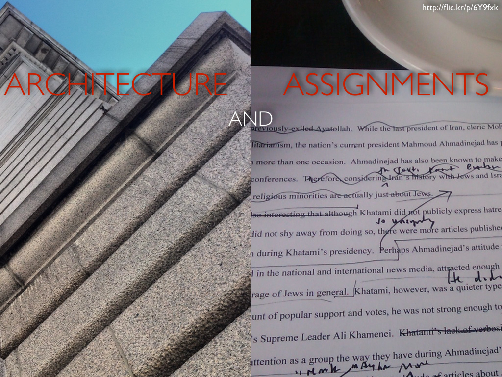 The title slide with the text and images reversed so it now reads 'Architecture and Assignments'
