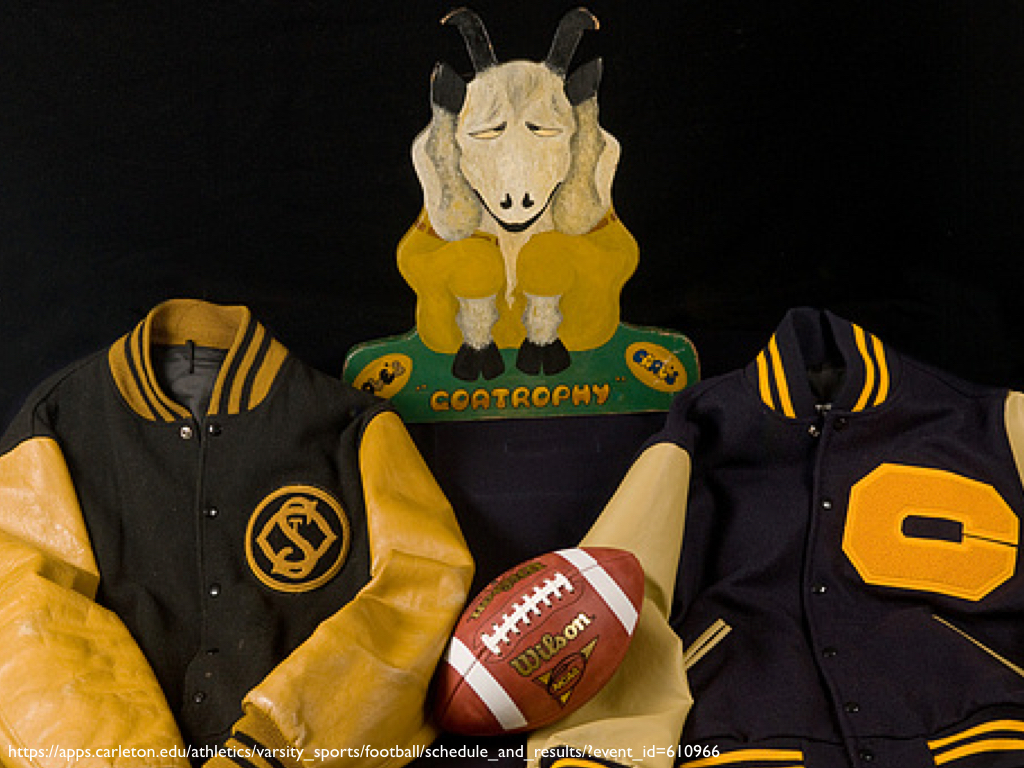 The Goat Trophy next to lettermen's jackets from St. Olaf's and Carleton Colleges