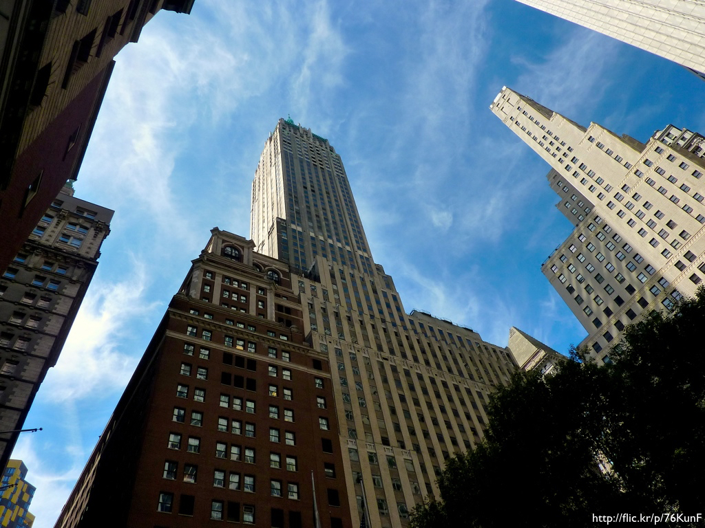 The Manhattan Trust Building, now known as 40 Wall Street, shot from below.