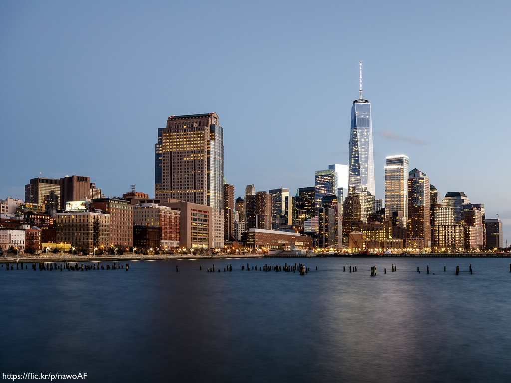 One World Trade Center, or the Freedom Tower, photographer from across the Hudson River.