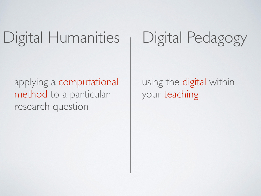 A slide that defines 'Digital Humanities' as 'applying a copmutation method o a particular research question' and 'Digital Pedagogy' as 'using the digital within your teaching.'