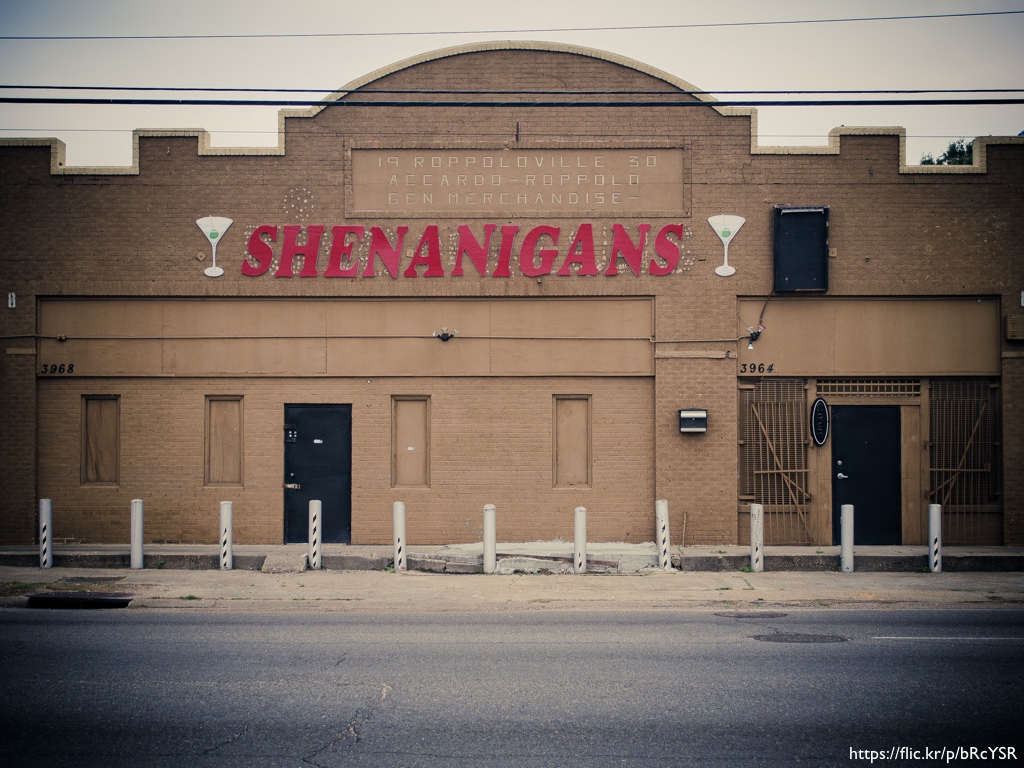 A deserted bar named 'Shenanigans'