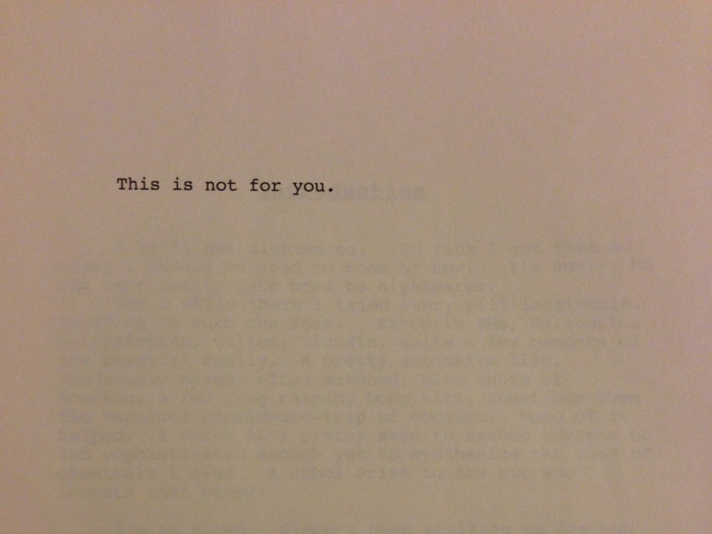 The dedicatory page of *House of Leaves*, which reads 'This is not for you.'