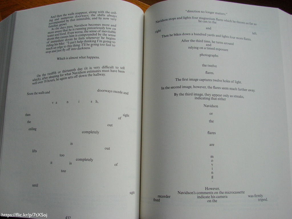 Two pages of *House of Leaves* that show the confusing typography in the novel.