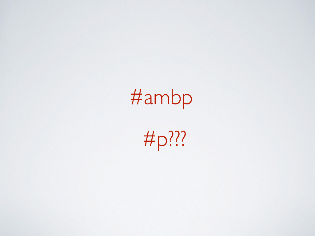 Two hashtags: #ambp and #p???.