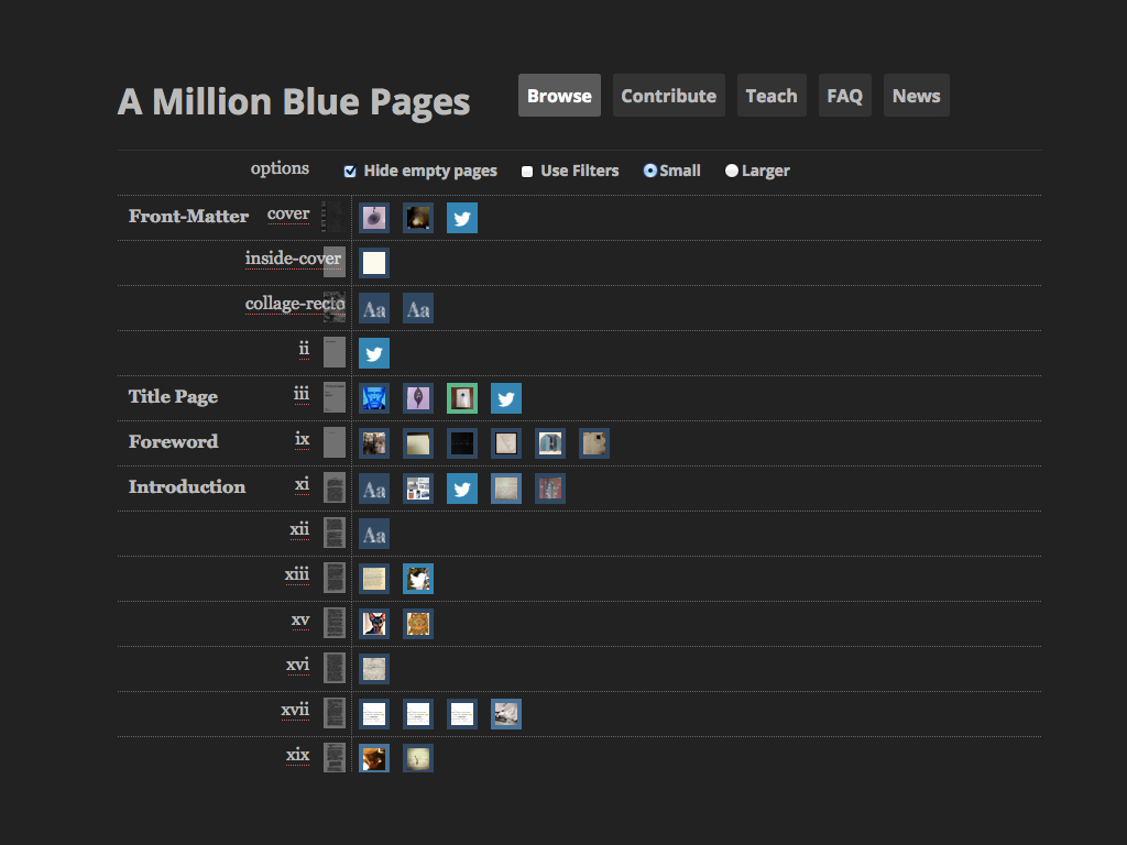 A screenshot of the 'Browse' page of *A Million Blue Pages*, which shows the media created for each page of *House of Leaves*.