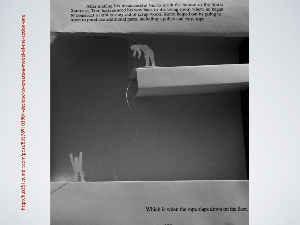 A student-created book-art project showing a page of *House of Leaves* cut up and folded to show one man casting a rope to another down in a pit.