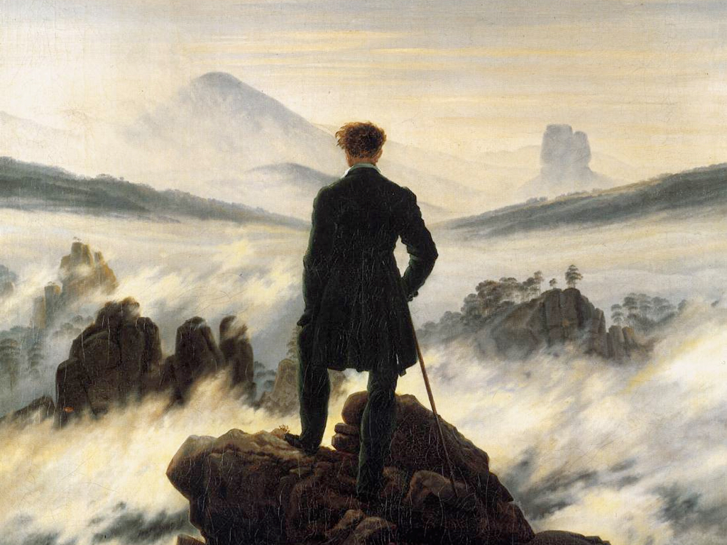 The oil painting *Wanderer above the Sea of Fog* by Caspar David Friedrich, which depicts a man in a suit coat with a walking stick standing on a rocky outcopping looking out over a landscape covered in part by fog.